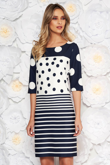 Darkblue elegant dress arched cut with 3/4 sleeves soft fabric with dots print