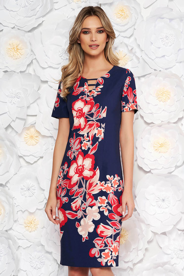 Darkblue elegant midi pencil dress with floral prints