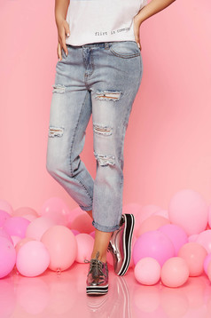 Top Secret blue casual jeans with ruptures with medium waist nonelastic cotton