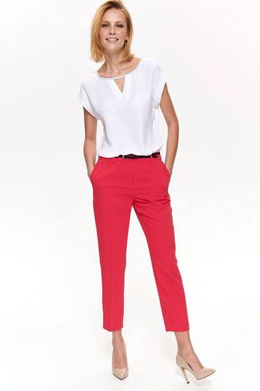 Top Secret white elegant flared women`s blouse short sleeve slightly transparent fabric