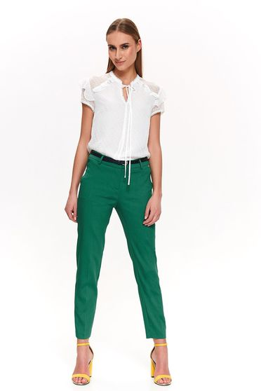 Top Secret green office conical trousers with medium waist accessorized with tied waistband