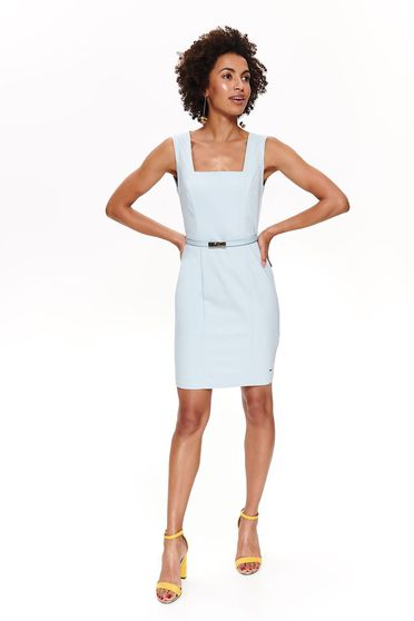 Top Secret lightblue office pencil dress slightly elastic cotton accessorized with belt