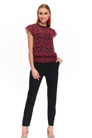 Top Secret darkblue short sleeve flared women`s blouse transparent fabric with floral print