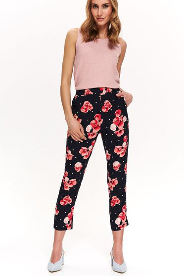 Top Secret darkblue trousers with medium waist thin fabric with floral print