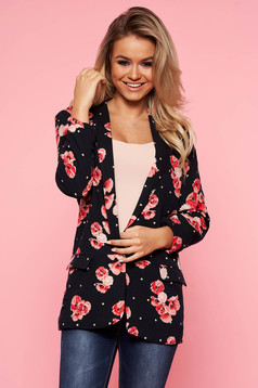 Top Secret darkblue blazer jacket 3/4 sleeve with straight cut with floral prints