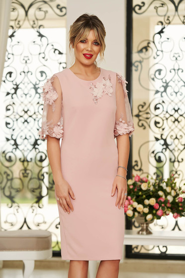 0ac0723562 StarShinerS rosa elegant midi dress with tented cut slightly elastic fabric  with floral details handmade details