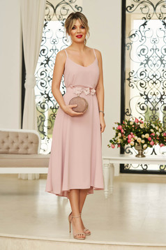 StarShinerS rosa occasional midi dress from veil fabric with v-neckline with straps accessorized with tied waistband