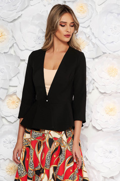 StarShinerS black elegant tented jacket with 3/4 sleeves with frilled waist slightly elastic fabric