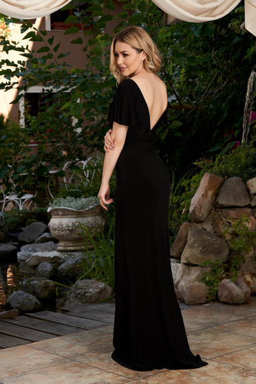 StarShinerS black dress occasional long mermaid cut v back neckline short sleeves lycra