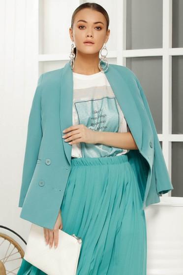 Turquoise elegant blazer jacket arched cut