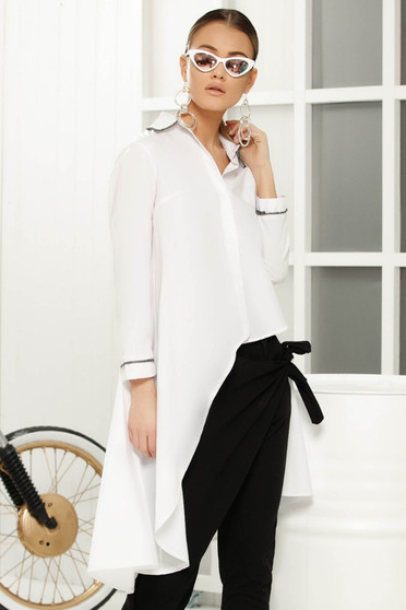 White asymmetrical flared women`s shirt long sleeved