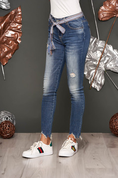 Blue casual skinny jeans jeans cotton with medium waist