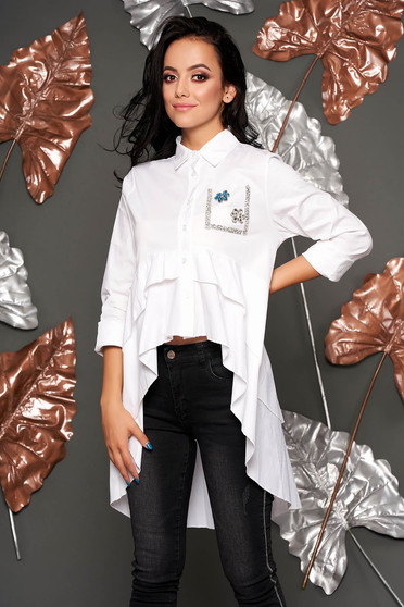 White elegant flared asymmetrical women`s shirt airy fabric