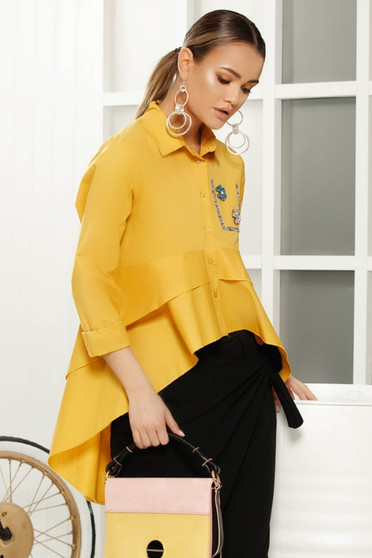 Yellow elegant flared asymmetrical women`s shirt airy fabric