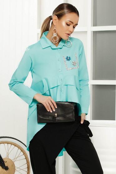 Turquoise elegant flared asymmetrical women`s shirt airy fabric