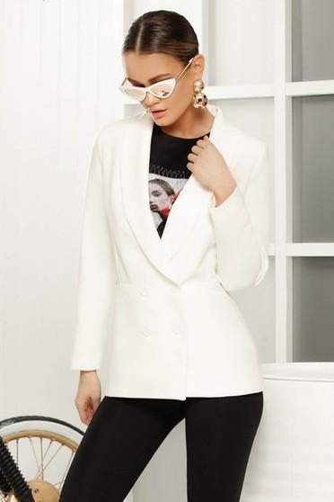 White elegant blazer jacket arched cut