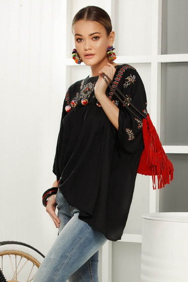 Black casual flared women`s blouse 3/4 sleeve airy fabric