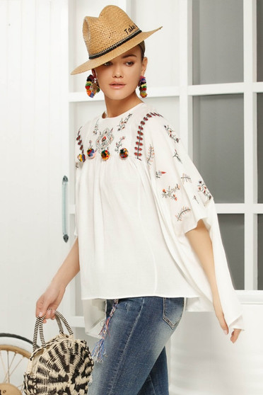 White casual flared women`s blouse 3/4 sleeve airy fabric