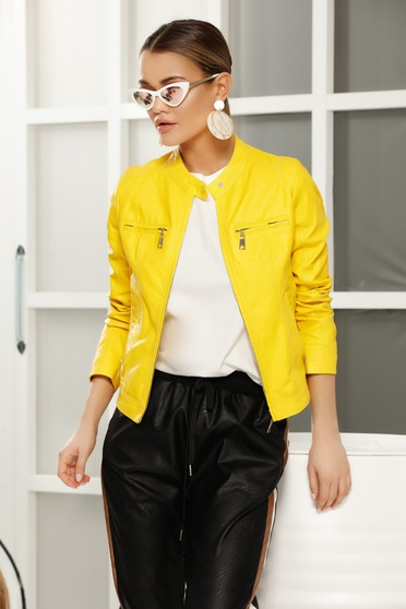 Yellow casual jacket from ecological leather with inside lining with straight cut