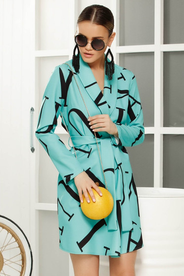 Turquoise casual straight trenchcoat accessorized with tied waistband soft fabric