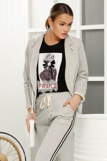 Grey casual blazer jacket 3/4 sleeve soft fabric short cut
