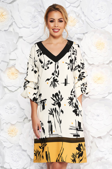 LaDonna mustard elegant daily straight dress 3/4 sleeve slightly elastic fabric with floral prints