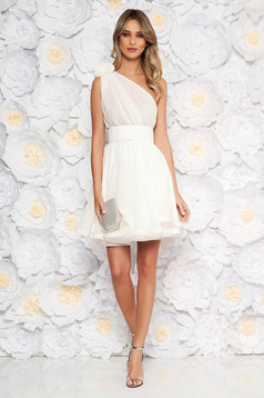 Ana Radu luxurious white dress from veil fabric with inside lining cloche accessorized with tied waistband