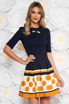 Fofy mustard office women`s shirt with tented cut slightly elastic cotton bow accessory