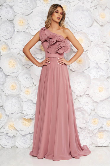 Ana Radu rosa luxurious dress from veil fabric with inside lining with ruffle details accessorized with tied waistband one shoulder