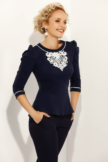 Fofy darkblue women`s shirt office with tented cut slightly elastic cotton with lace details