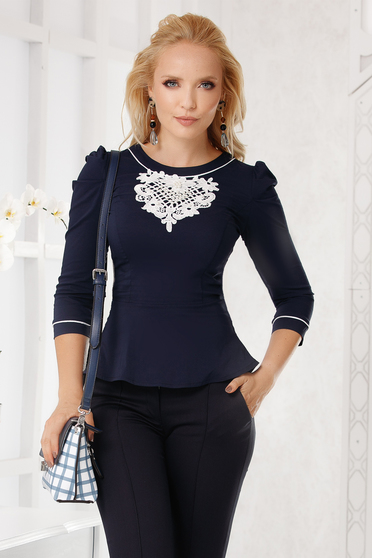 Darkblue women`s shirt office with tented cut slightly elastic cotton with lace details