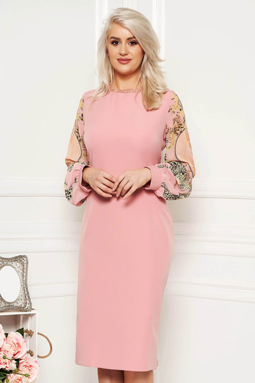 Rosa occasional dress with tented cut transparent sleeves with small beads embellished details