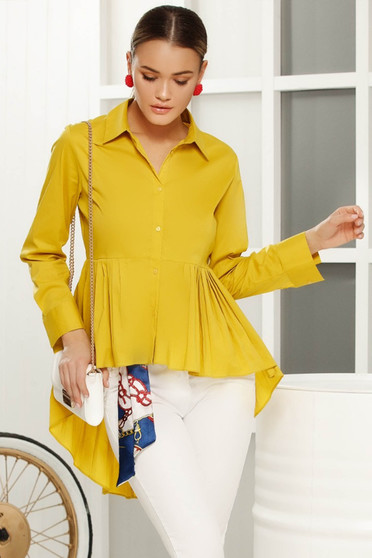Yellow asymmetrical flared women`s shirt thin fabric long sleeve