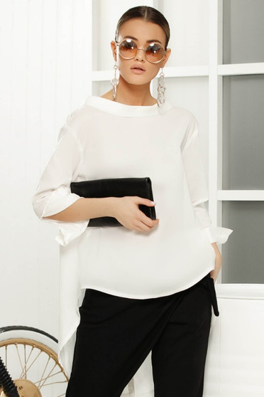 White elegant asymmetrical with easy cut women`s blouse slightly transparent fabric