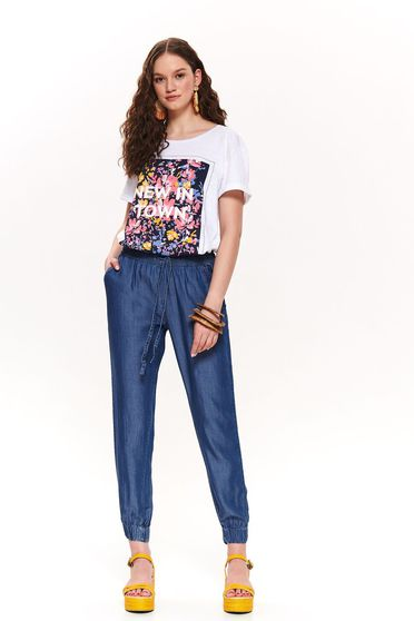 Top Secret blue casual trousers with medium waist with pockets with laced details denim
