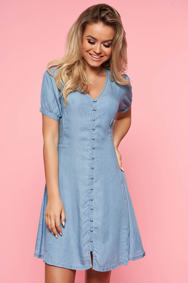 Top Secret blue daily cloche dress thin fabric short sleeves