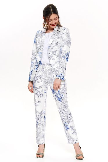 Top Secret white elegant blazer tented jacket nonelastic cotton with floral print
