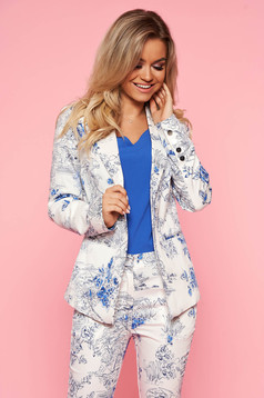 Top Secret white elegant blazer tented jacket nonelastic cotton with floral print