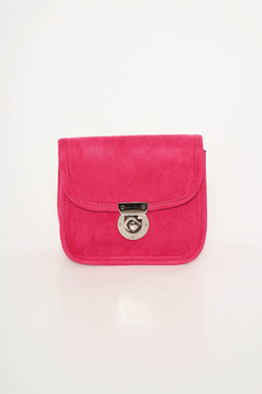 Top Secret pink bag from velvet fabric long chain handle