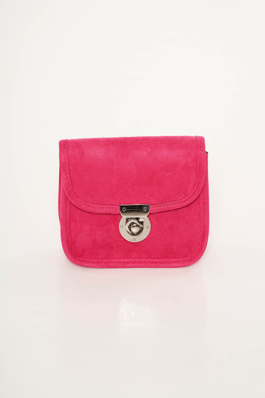 Top Secret pink bag from velvet fabric long chain handle