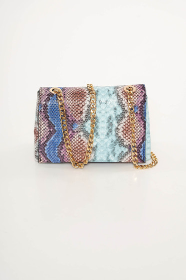 Blue bag from ecological leather animal print