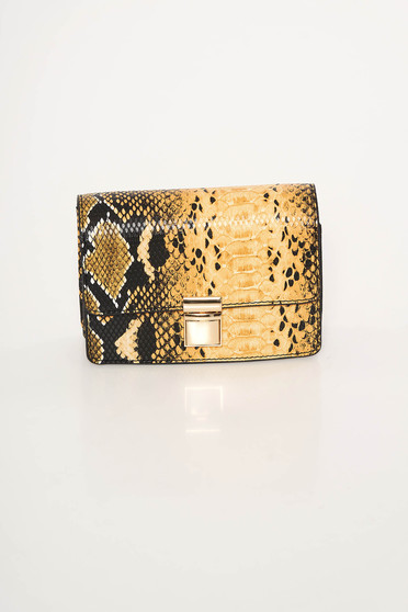 Mustard bag from ecological leather animal print long chain handle