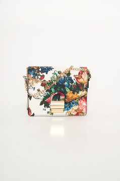 White bag from ecological leather with floral print
