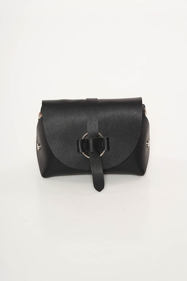 Black bag casual from ecological leather long chain handle