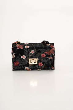Black occasional bag from velvet fabric with embroidery details
