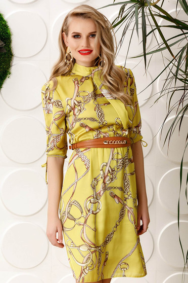 PrettyGirl yellow elegant daily cloche dress with elastic waist with 3/4 sleeves from satin fabric texture