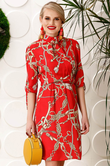 PrettyGirl red elegant daily cloche dress with elastic waist with 3/4 sleeves from satin fabric texture