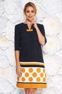 Fofy mustard elegant daily a-line dress bow accessory