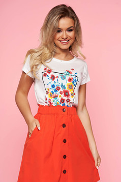 Top Secret white casual flared t-shirt short sleeve slightly elastic cotton with floral print