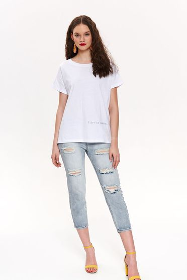 Top Secret white casual flared t-shirt slightly elastic cotton